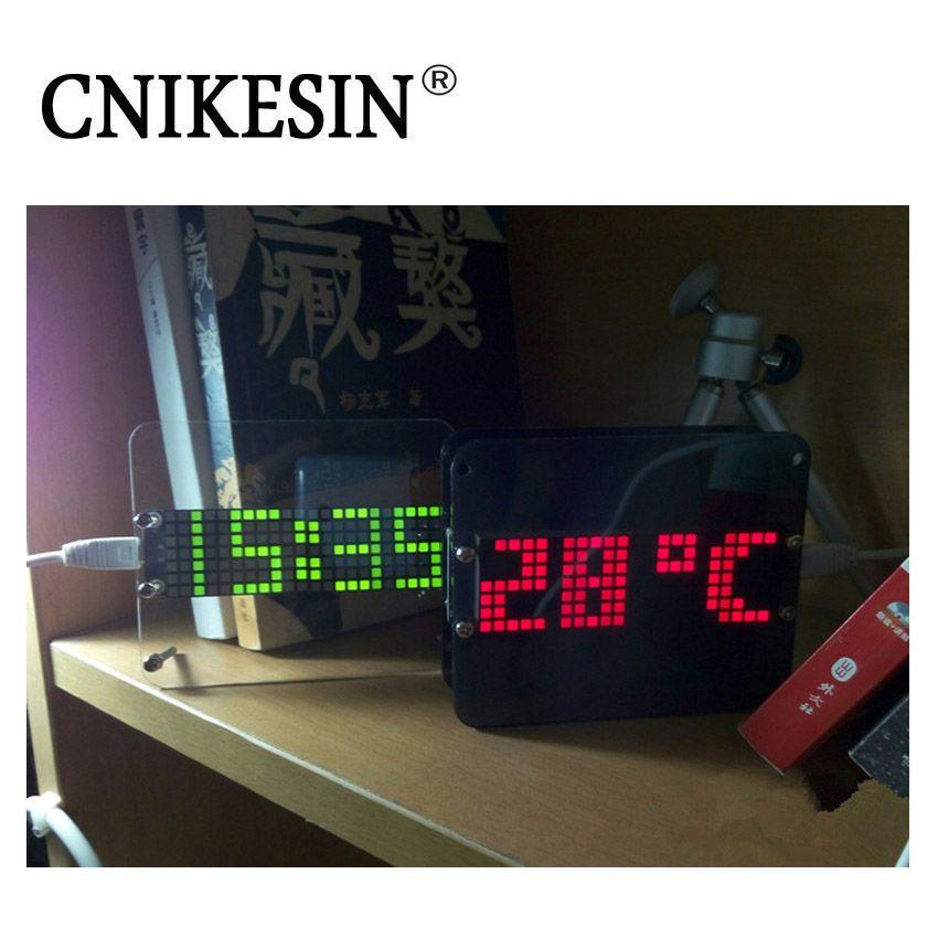 CNIKESIN DIY Kit DS3231 Multi-fonction LED Numérique Horloge Thermomètre De Bureau Montre Électronique Kits Horloge avec Acrylique Cas