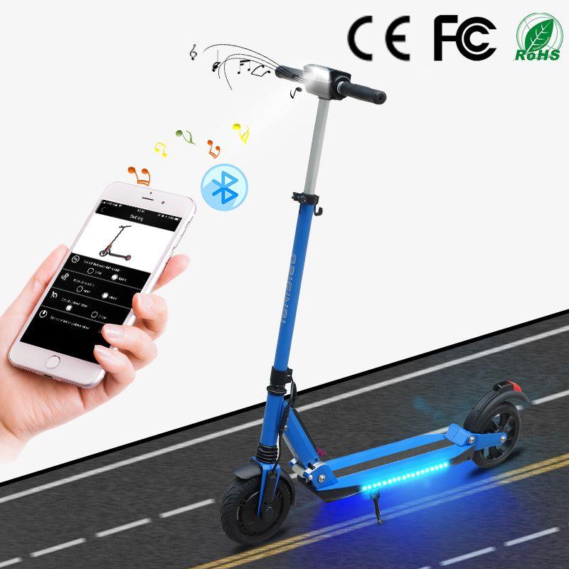 SUPERTEFF EW4 pro modische elektrische roller 8 zoll reifen LED licht rad e roller mit Bluetooth musik und kugoo App