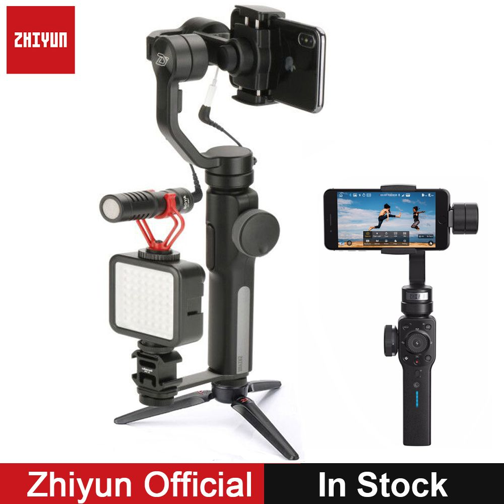 Zhiyun Gimbal Smooth 4 3-Axis Gopro Video Stabilizer w Boya BY-MM1 microphone for iPhone X 8Plus Samsung S9 S8 S7 VS Smooth Q