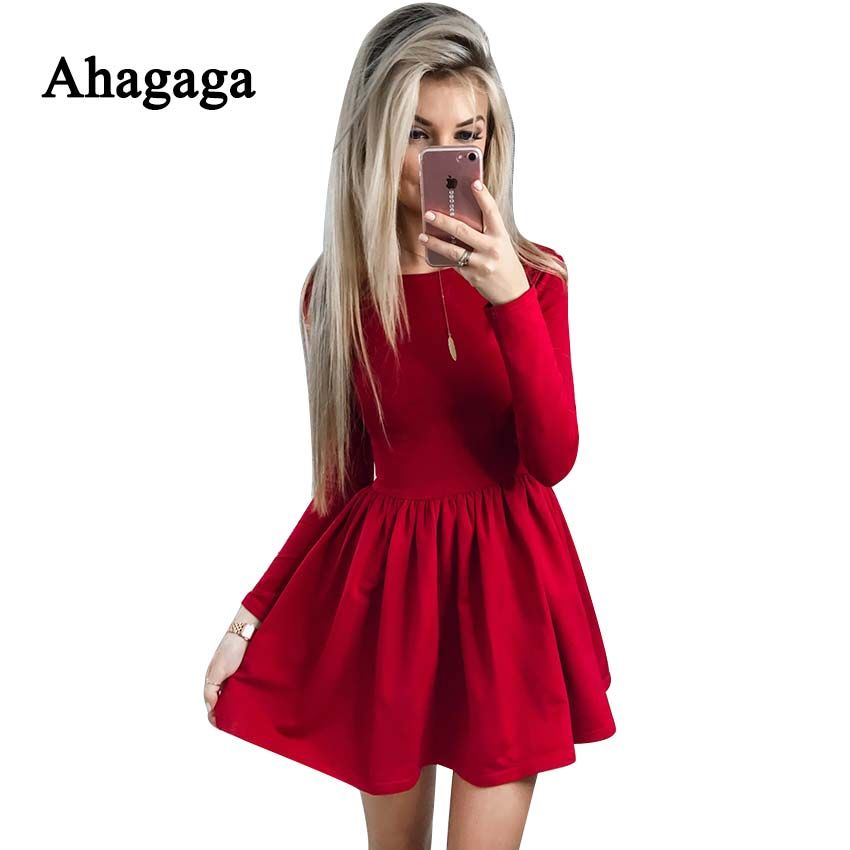 Ahagaga 2019 Spring Dress Women Fashion Solid Red Black O-neck Elegant Sexy Club Casual Cute A-line Dress Women Dresses Vestidos