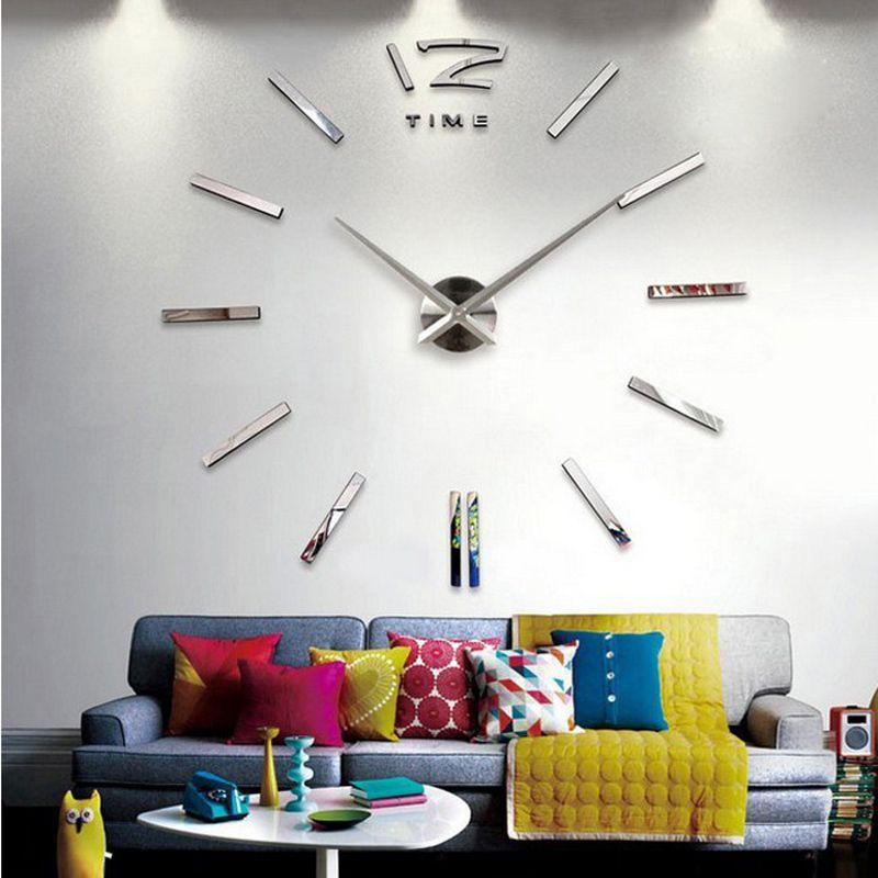 sale wall clock watch clocks 3d diy acrylic mirror stickers Living Room Quartz Needle Europe horloge free shipping