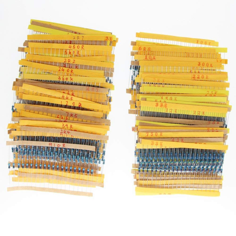 1/4w resistors <font><b>pack</b></font> 168 values x 10pcs = 1680pcs 0.1 - 10M 1% full range resistors assortment kit