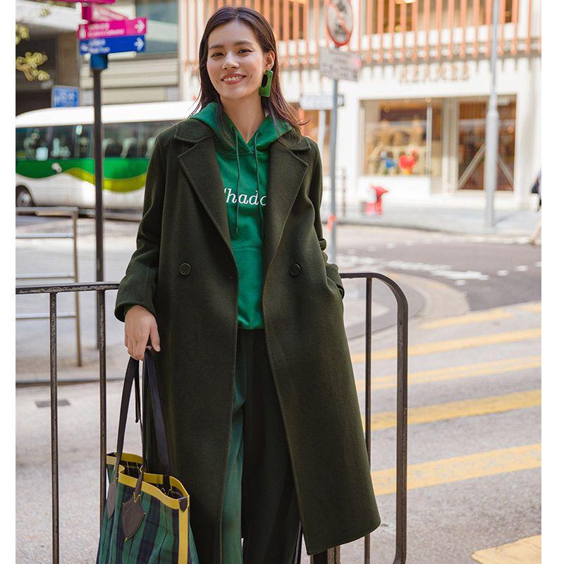 INMAN Turn Down Collar Causal Single Button Adjustable Waist Women Long 100% Wool Coat
