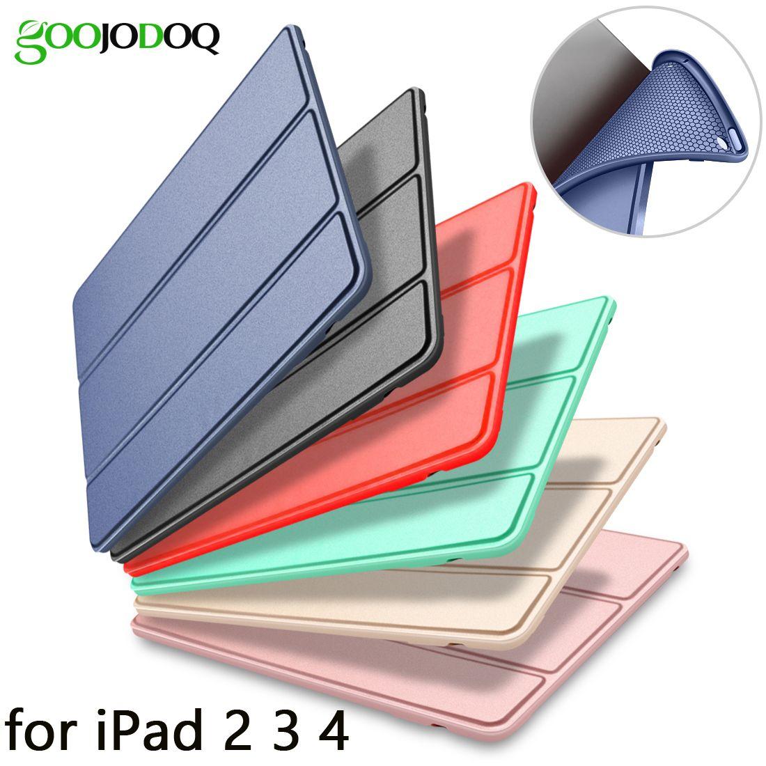 Étui pour ipad 2 3 4 Cas Silicone Souple Retour Folio Stand avec Mise en Veille Automatique/Réveil PU Cuir étui intelligent pour iPad 3 4 2 Cas
