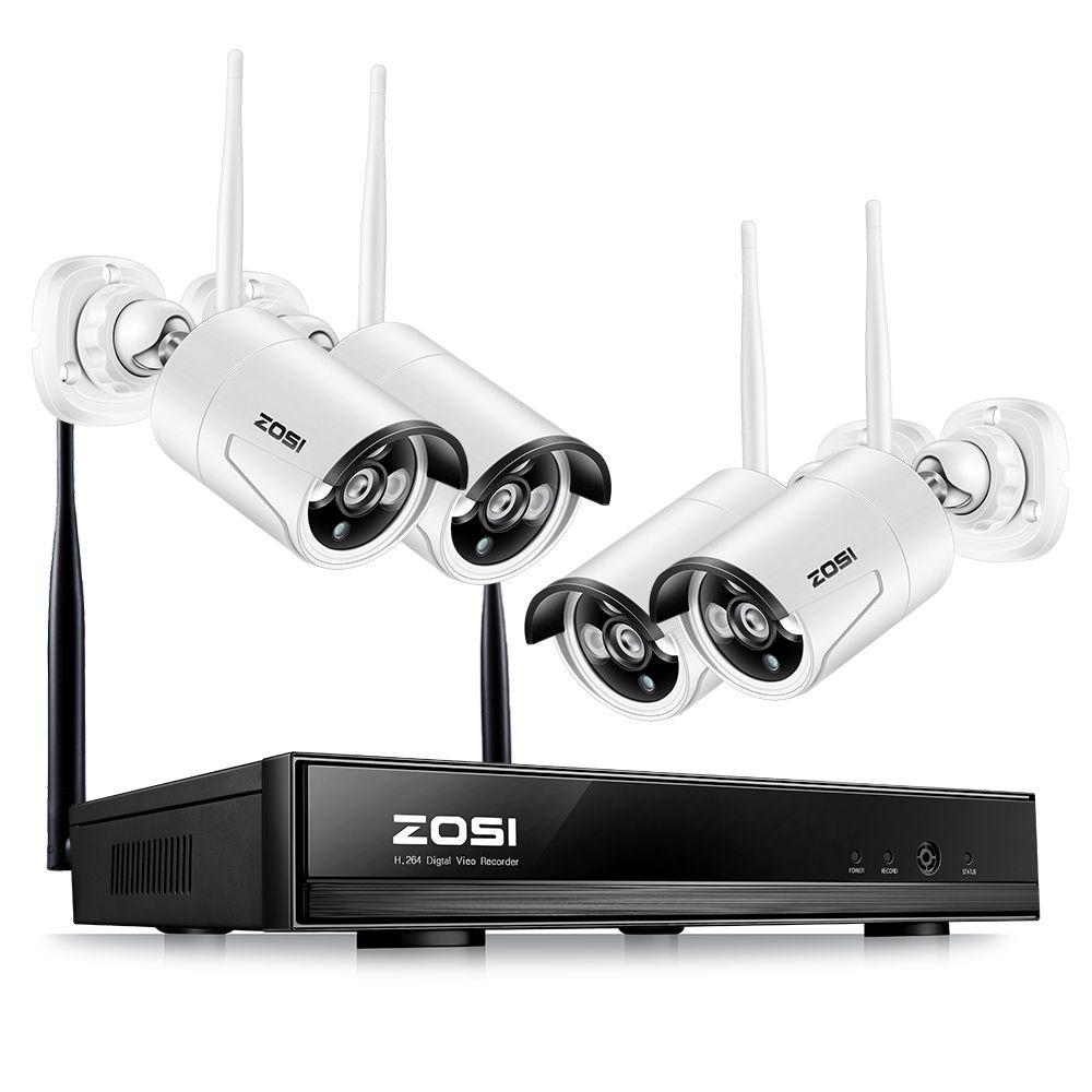 ZOSI Plug & Play Wireless 4CH CCTV Camera System P2P Wireless 1080P NVR & IP Camera 960P Outdoor Bullet Wifi Surveillance System