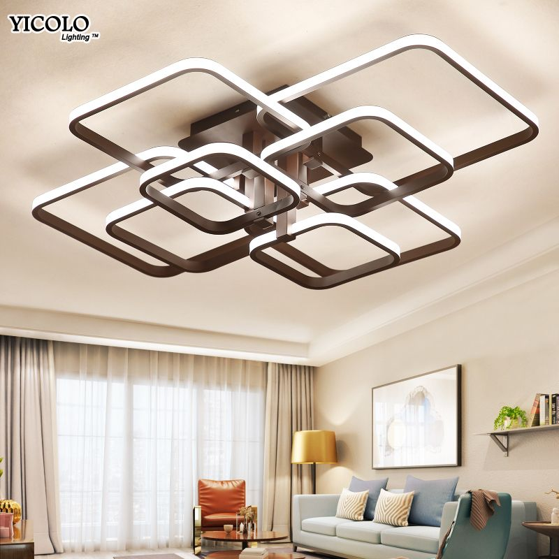 Square Circel Rings Ceiling Lights For Living Room Bedroom Home AC85-265V Modern Led Ceiling Lamp Fixtures lustre plafonnier