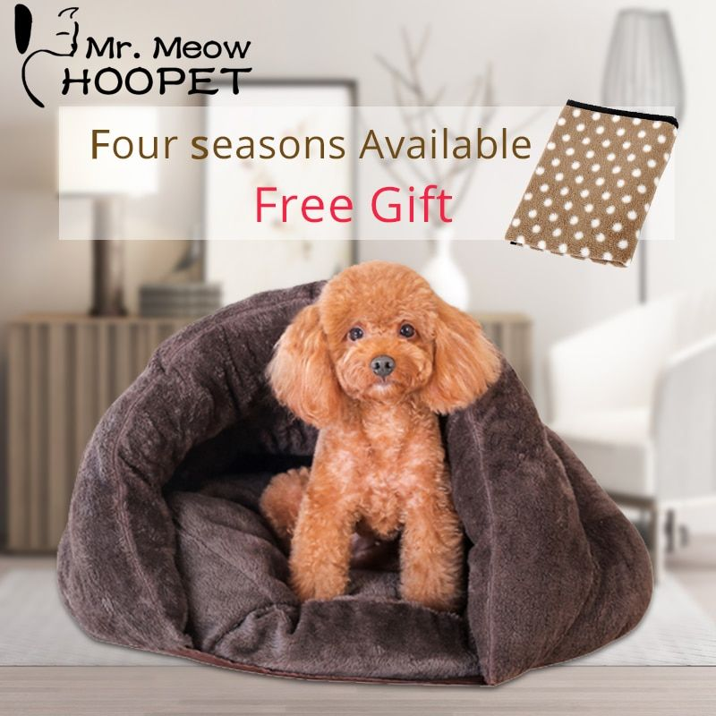 Hoopet Pet Dog Cat Bed Warm Soft Sleeping Bag Kitten <font><b>House</b></font> Sack Bed Kennel Cave Pet Home Blanket Mat Cushion