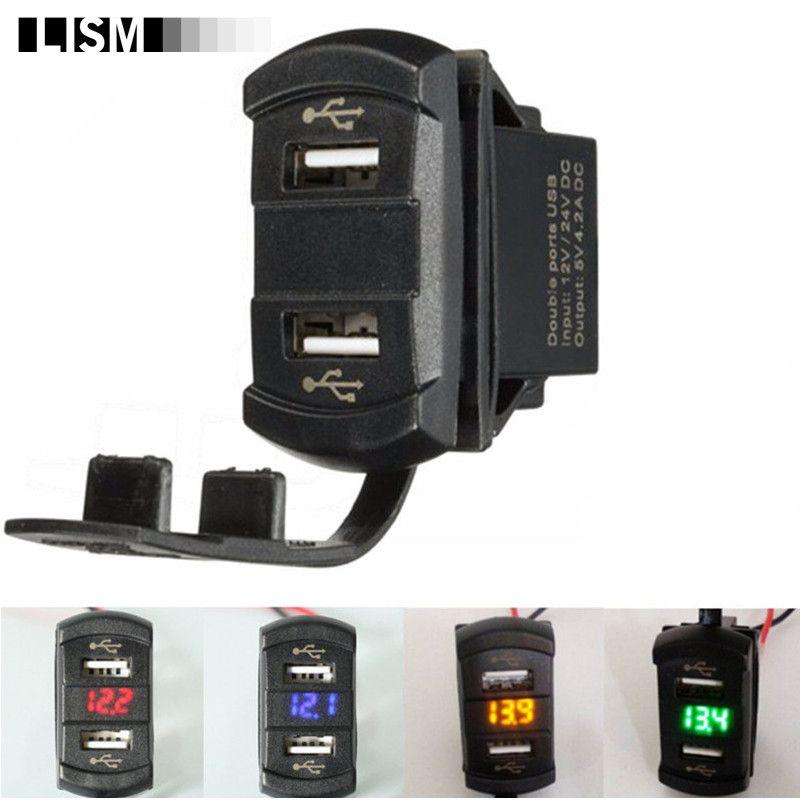 LED 12V 4.2A Moto Dual Ports 2USB Power Charger Adapter Socket Splitter <font><b>Volt</b></font> Meterr Voltage Meter Switch Panel Cigarette Lighter