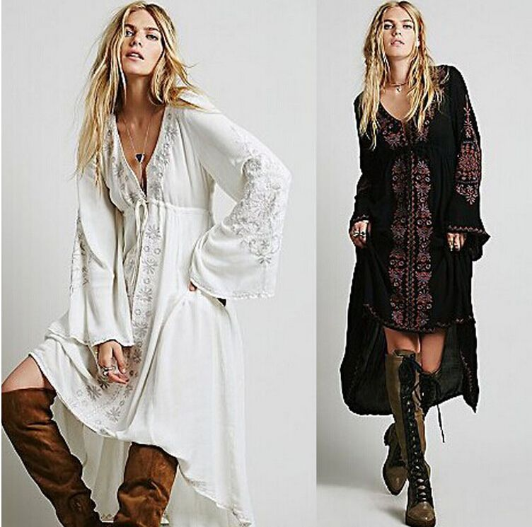 2017 Long Dress Women Vintage Ethnic Flower Embroidered Cotton Tunic Casual Long Dress Hippie Boho People Asymmetric Maxi Dress