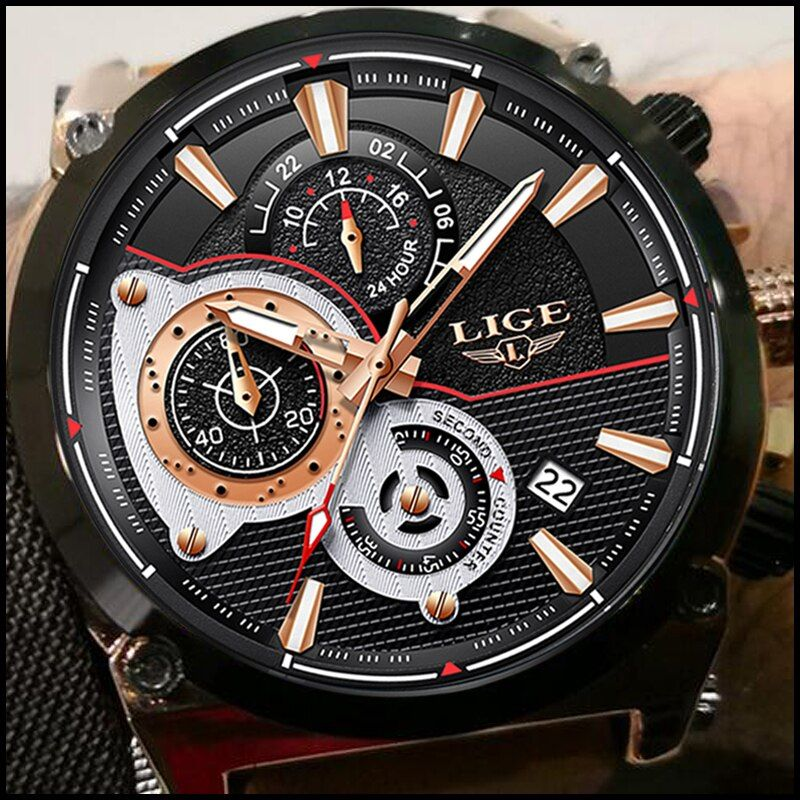 2018 LIGE Men Watch Male Leather Automatic date Quartz Watches Mens Luxury Brand Waterproof Sport Clock Relogio Masculino Reloje