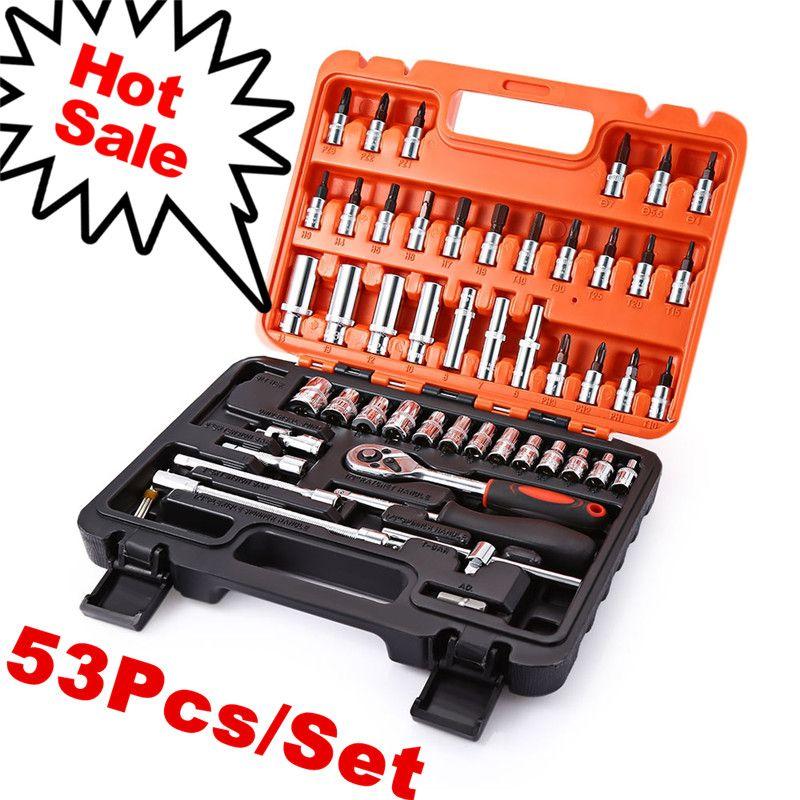 53 pcs 1/4 Prise Ratchet Outil De Réparation De Voiture Cas Précision Manches Joint Universel Matériel Kit Auto Réparation Main Clé tool Set