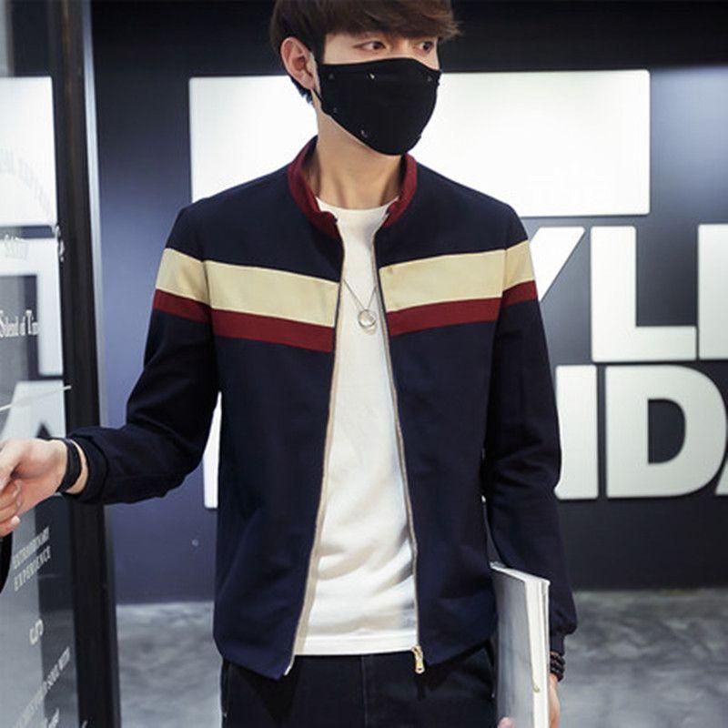 2018 Hommes Printemps Patchwork Vestes et Manteaux Bande Jaqueta Masculina Mâle Mode Casual Slim Équipée Zipper Vestes Hombre