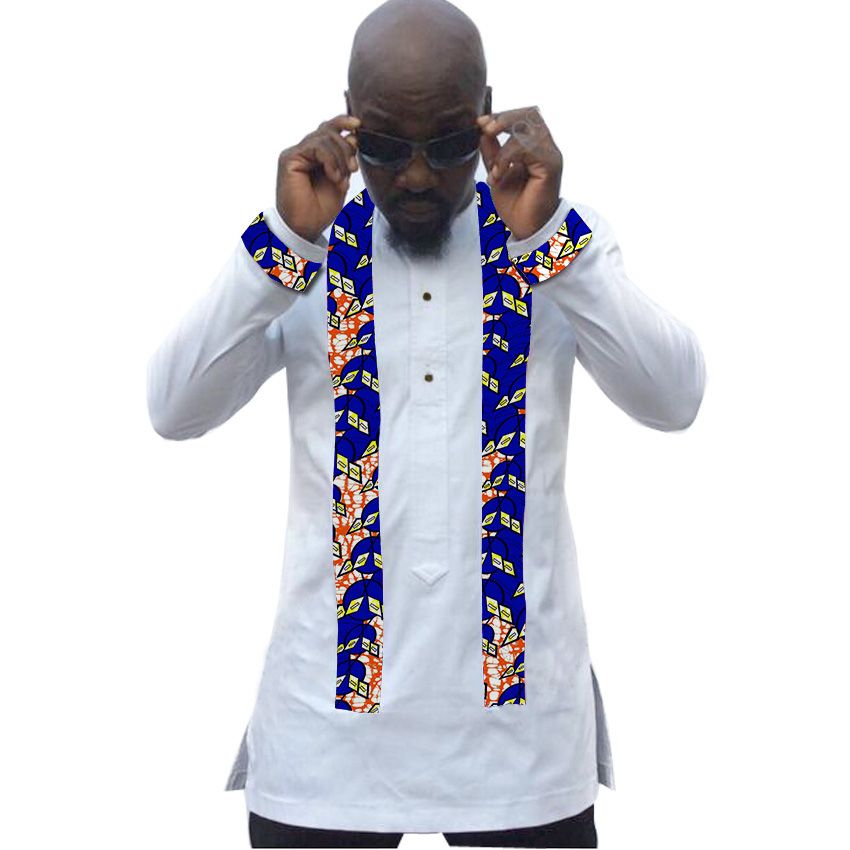 В африканском стиле мужские рубашки Анкара узоры белый с принтом в стиле пэчворк Африка Модная одежда с длинным рукавом Топы яркий воск сва...