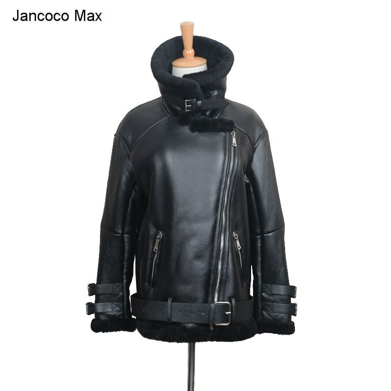 Jancoco Max 2018 New Motorcycle Leather Punk Jacket Biker Jackets Women Men Genuine Leather Coat With Real Fur S1640
