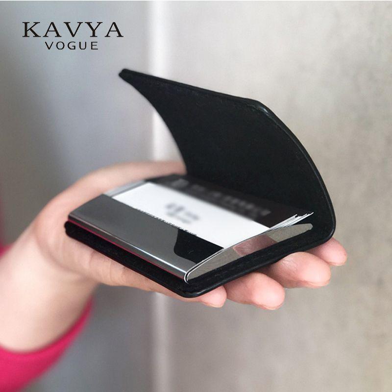 Serrure magnétique en cuir véritable bussiness namecard case carte d'identité porte carte bancaire boîte organisateur portefeuille