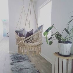 Nordic Style Handmade Knitted Round Hammock Outdoor Indoor Dormitory Bedroom Children Swing Bed Kids Single Chair Hammock Decor