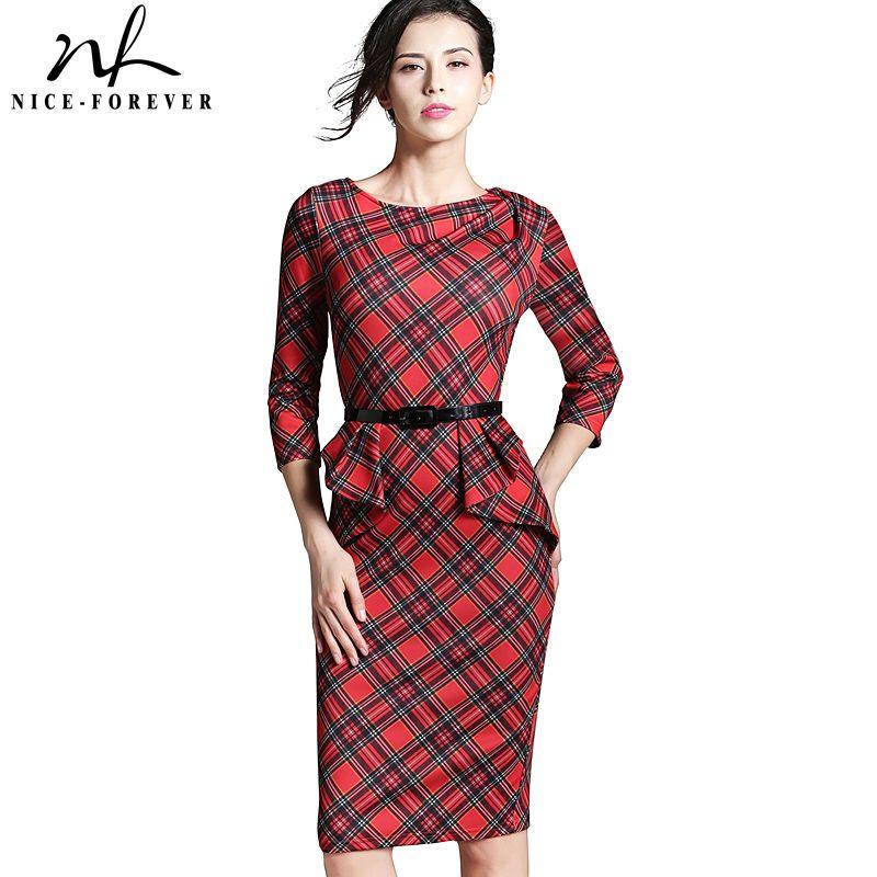 Nice-toujours Printemps Dame Vintage Tartan Rouge Nouvel An robe ajustée O Cou 3/4 Manches Ceinture Peplum décontracté Zipper robe moulante b267