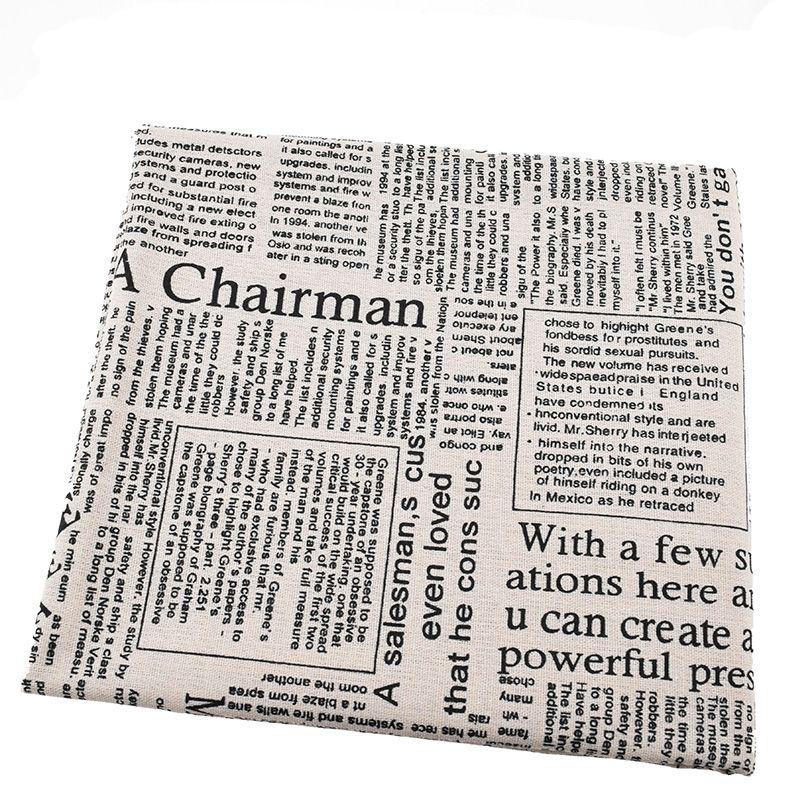 Tissu en lin de coton imprimé pour Quilting, couture, canapé, rideau, sac, coussin, matériel de couverture de meubles, motif de journal, demi-mètre