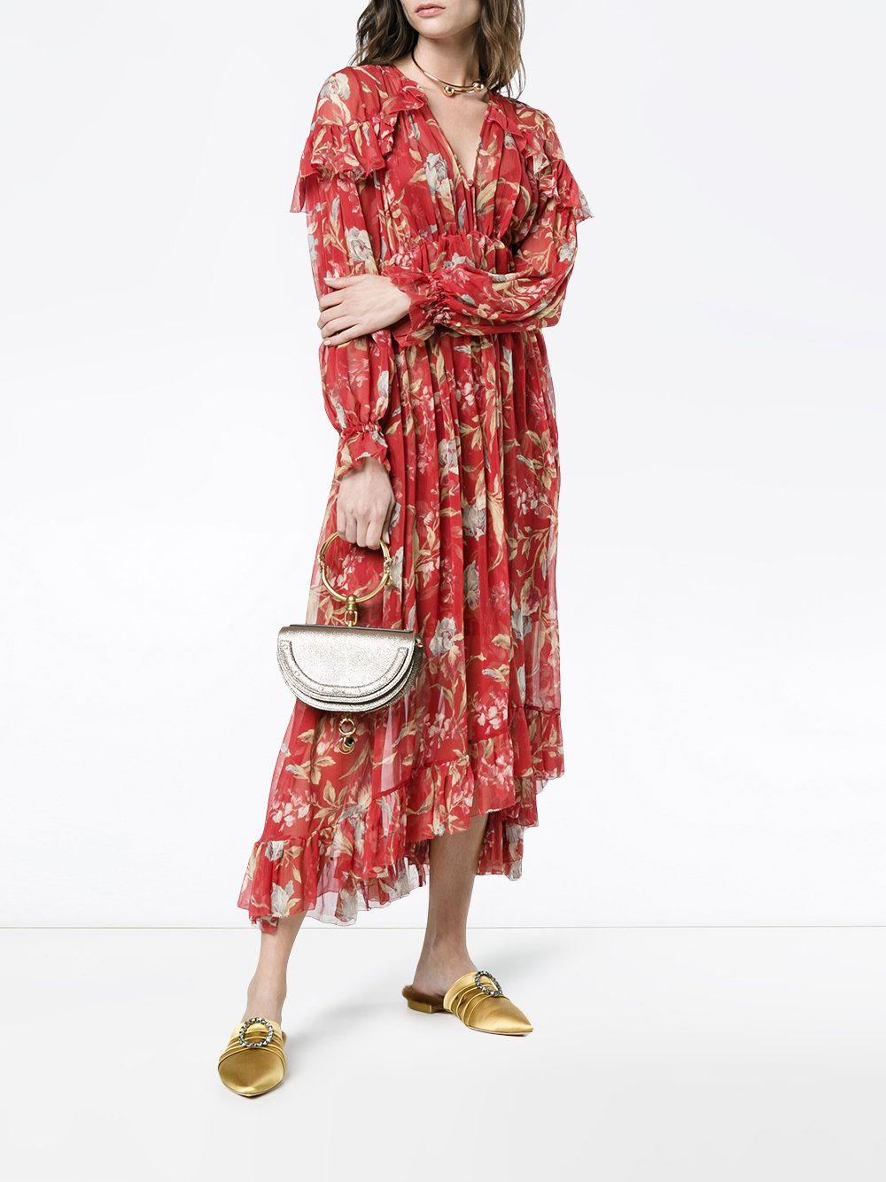 Women Deep V Neckline Ruffles Red Silk Corsair Iris Cape Dress