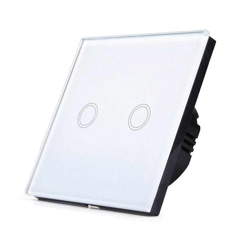 SESOO EU/UK Standard Touch Switch 2 Gang 1 Way Wall Light Touch Switch-Crystal Glass Switch Panel