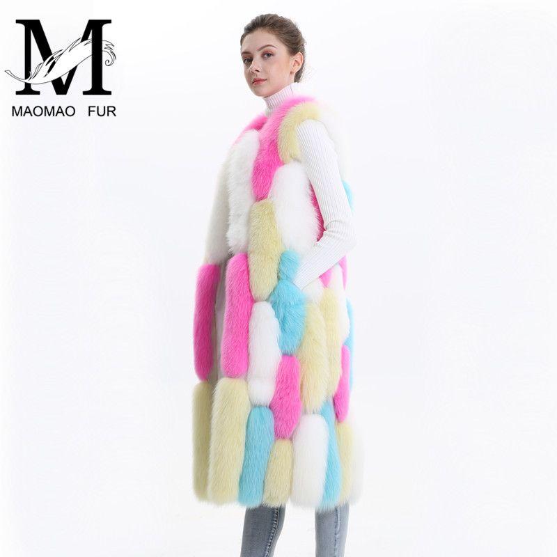 2018 New Real Fur Vest Women Multicolor Genuine Fox Fur Waistcoat 100% Full Pelt Whole Sleeveless Long Natural Fox Fur Vest