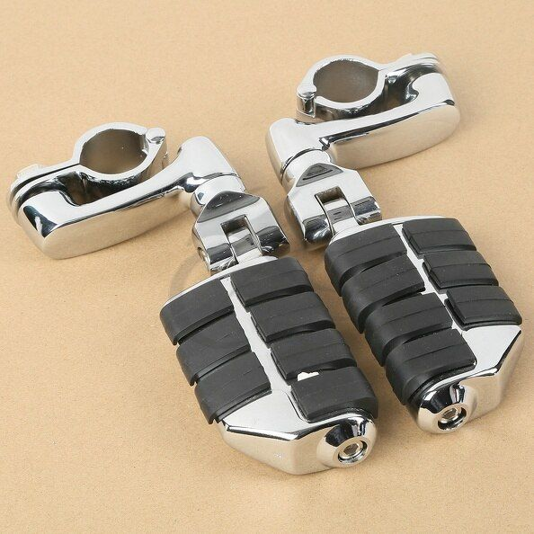 Chrome Universal Highway Foot Pegs Mount For 32MM Engine Guard Crash Bars