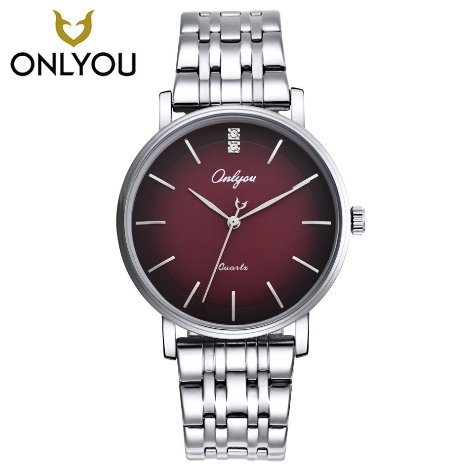 ONLYOU Men Watches Top Brand Luxury Gold Quartz Women Watch <font><b>Gift</b></font> Clock Ladies Gold Dress Wristwatch Stainless Steel lovers watch