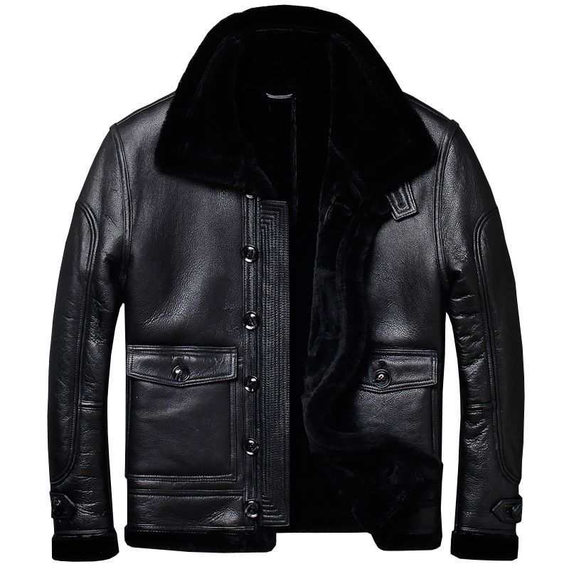 HARLEY DAMSON Black Men Thick Genuine Casual Shearling Coat Plus Size XXXL Single Breasted Russian Winter Short Leather Jacket