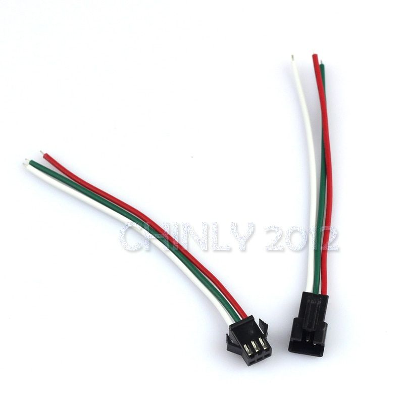 10 Pair JST SM 3 Pin Connectors For WS2812B WS2811 WS2812 LED Strip Female Male