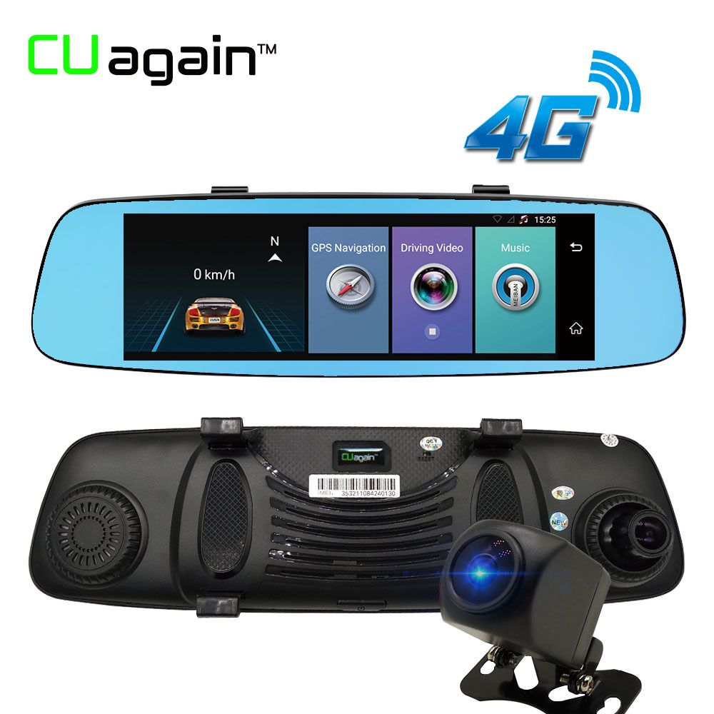 CUagain CU6 DVR 8'' 4G Wifi Dash Cam Mirror Night Vision Car Camera Touch Screen ADAS GPS Recorder Car Video Mirror Registrar