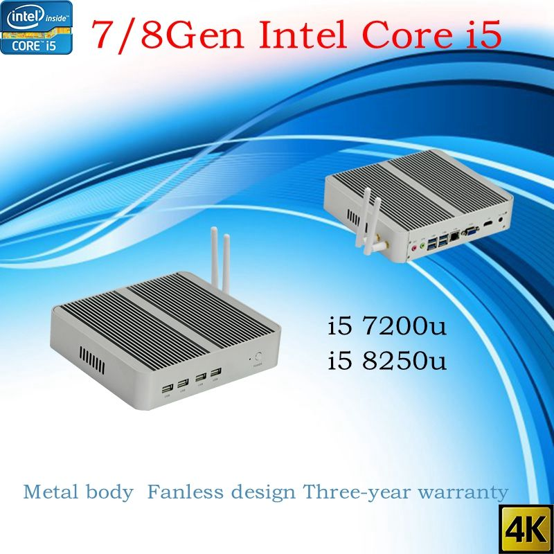 Neueste Kaby See R 8Gen Fanless mini pc i5 8250u i5 7200u Intel UHD 620 win10 NUC Freeshipping pc