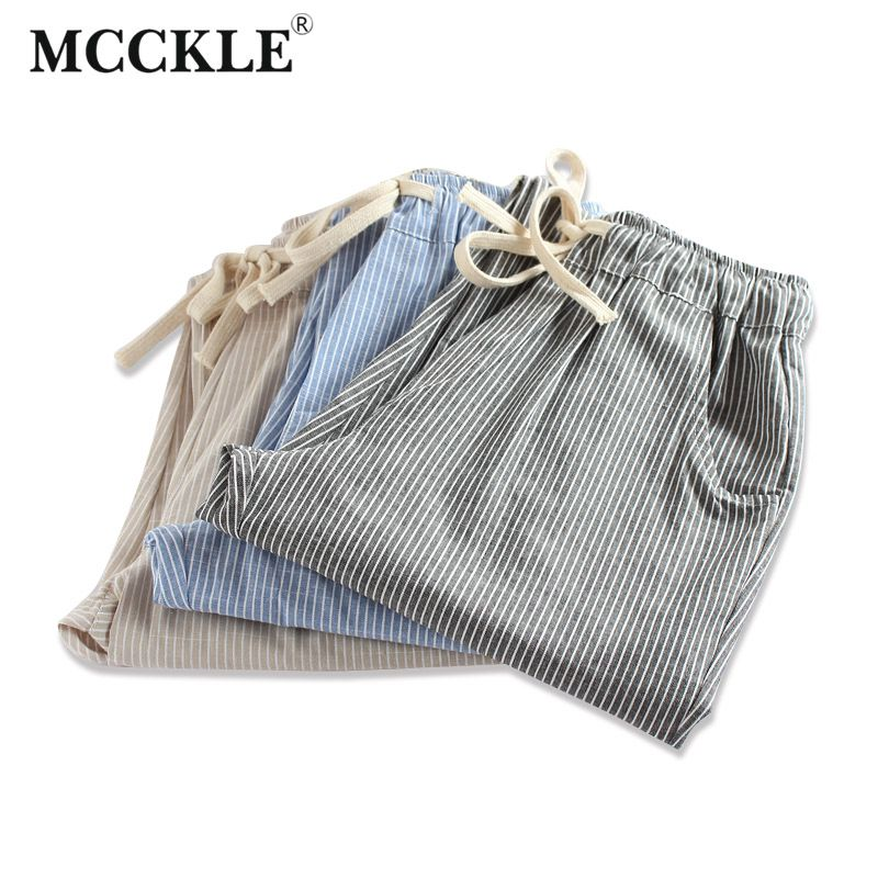 MCCKLE Summer 2017 New Woman Cotton and Linen Striped Harem Pants Fashion Women Loose Striped Full Pants Female Casual Pants