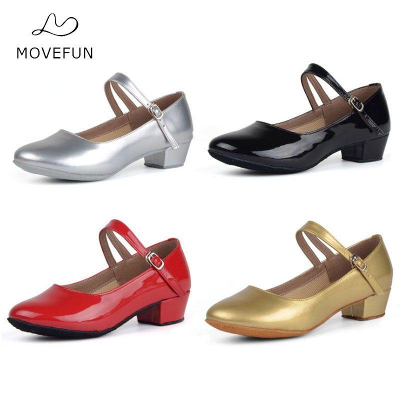 Movefun enfants salle de bal Tango chaussures de danse latine pour filles enfants femmes chaussures de danse noir talons bas chaussures de danse carrées modernes