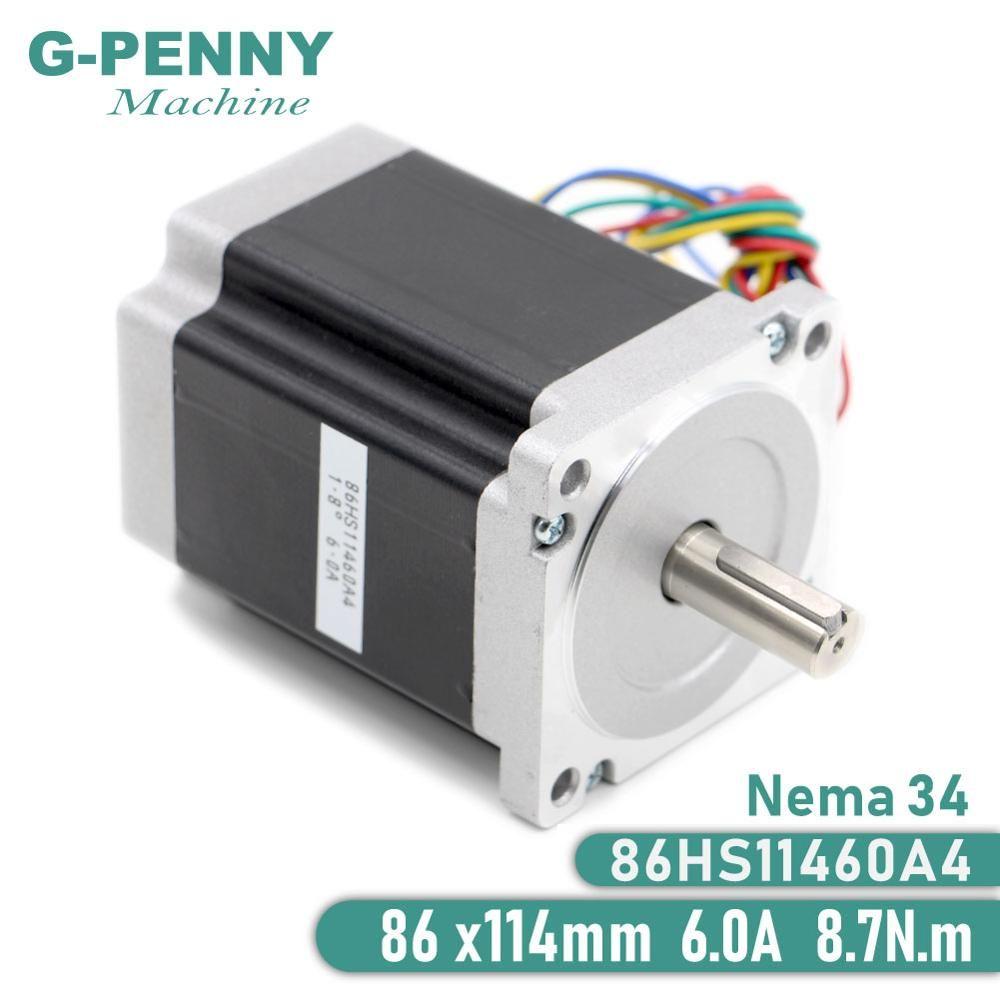 Moteur pas à pas NEMA 34 86X114mm 8.7 N. m 6A 14mm moteur pas à pas 1172Oz-in pour fraiseuse de gravure Laser CNC