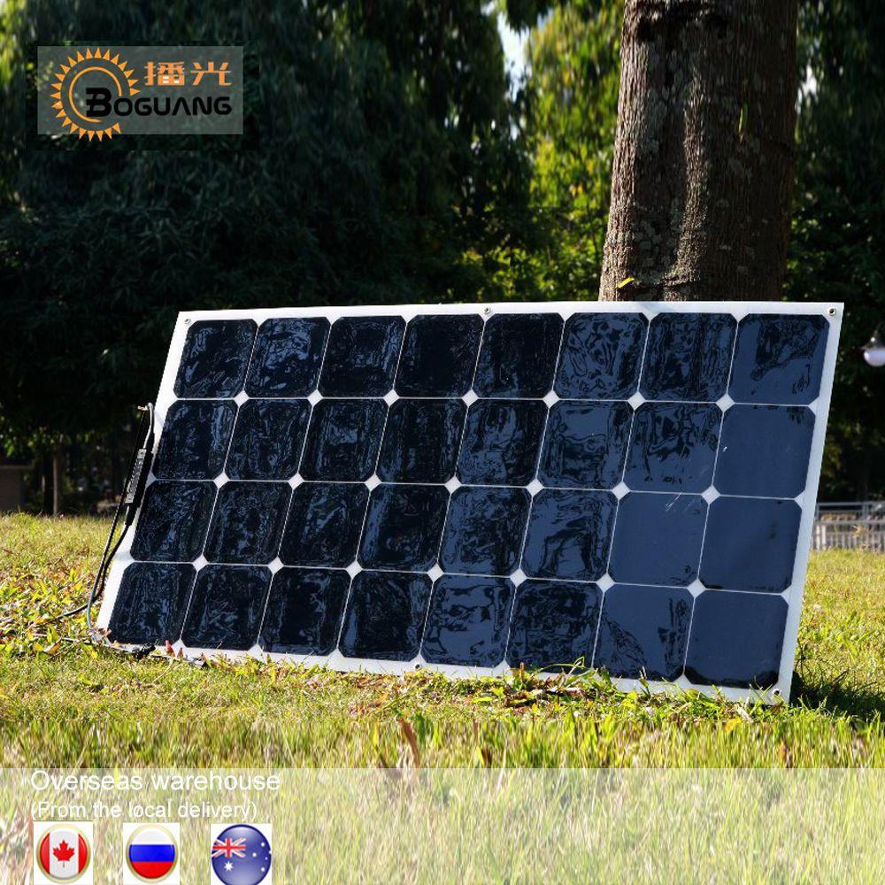 1 pcs 2 pcs 4 pcs 6 pcs Flexible Panneau Solaire 100 w Soleil Puissance Monocristallin Panneaux Solaires 18 v 12 v Léger 100 Watt Power plate