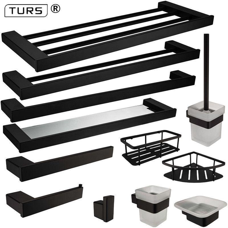 Nouveau SUS 304 acier inoxydable salle de bain matériel ensemble noir mat porte-papier porte-brosse à dents porte-serviettes salle de bain accessoires