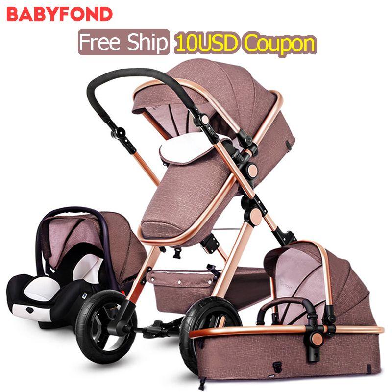 Europa 3 in 1 kinderwagen und schlaf korb neugeborenen baby wagen 0 ~ 36 monate Europa baby pram gold rahmen baby kinderwagen