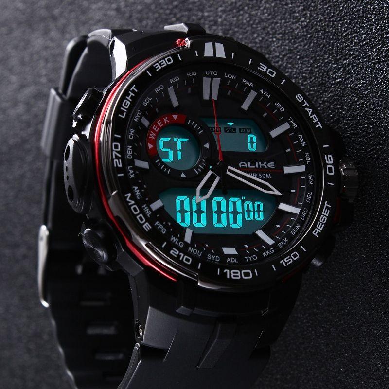 2017 New Brand ALIKE Casual Watch Men G Style Waterproof Sports <font><b>Military</b></font> Watches Shock Men's Luxury Analog Digital Quartz Watch