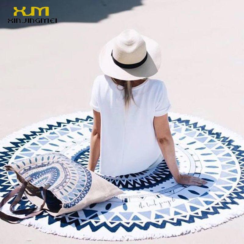 2017 bain de soleil rond serviette de plage bleu Floral plage couverture Ups rond tapis de plage maillot de bain couvrir Bikini couvrir avec des glands