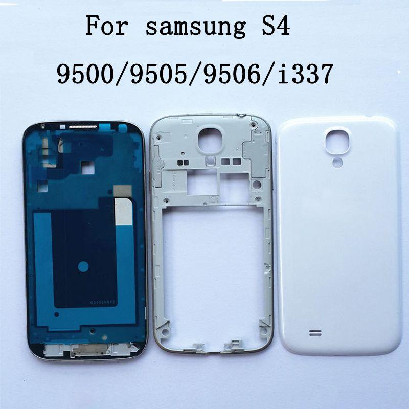 Volle Gehäuse Für Samsung Galaxy S4 i9500 i9506 i9505 i337 m919 neue Front Rahmen + Mittleren Rahmen + Batterie Abdeckung tür Reparatur Teile
