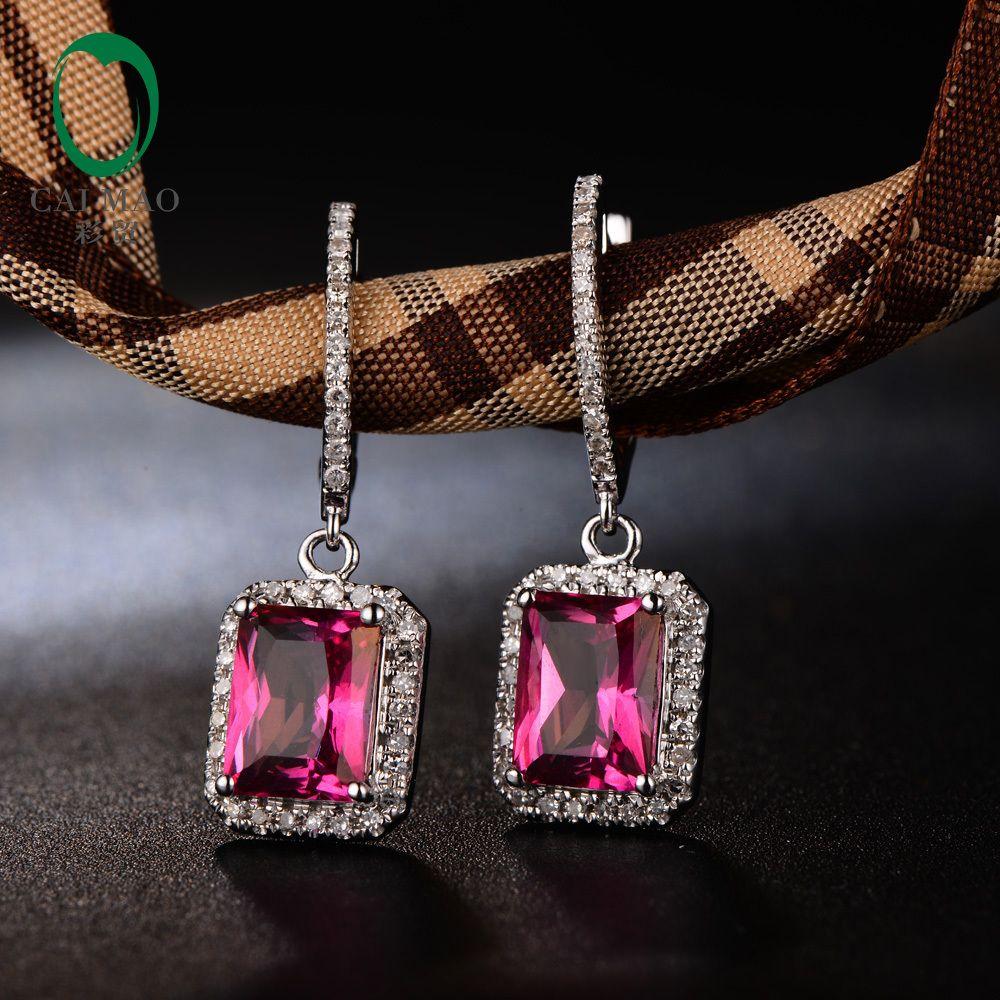 Caimao Bijoux 14KT Or Blanc 3.68ct 6x8mm Émeraude Bonne Topaze Rose Diamant de Fiançailles Boucles D'oreilles