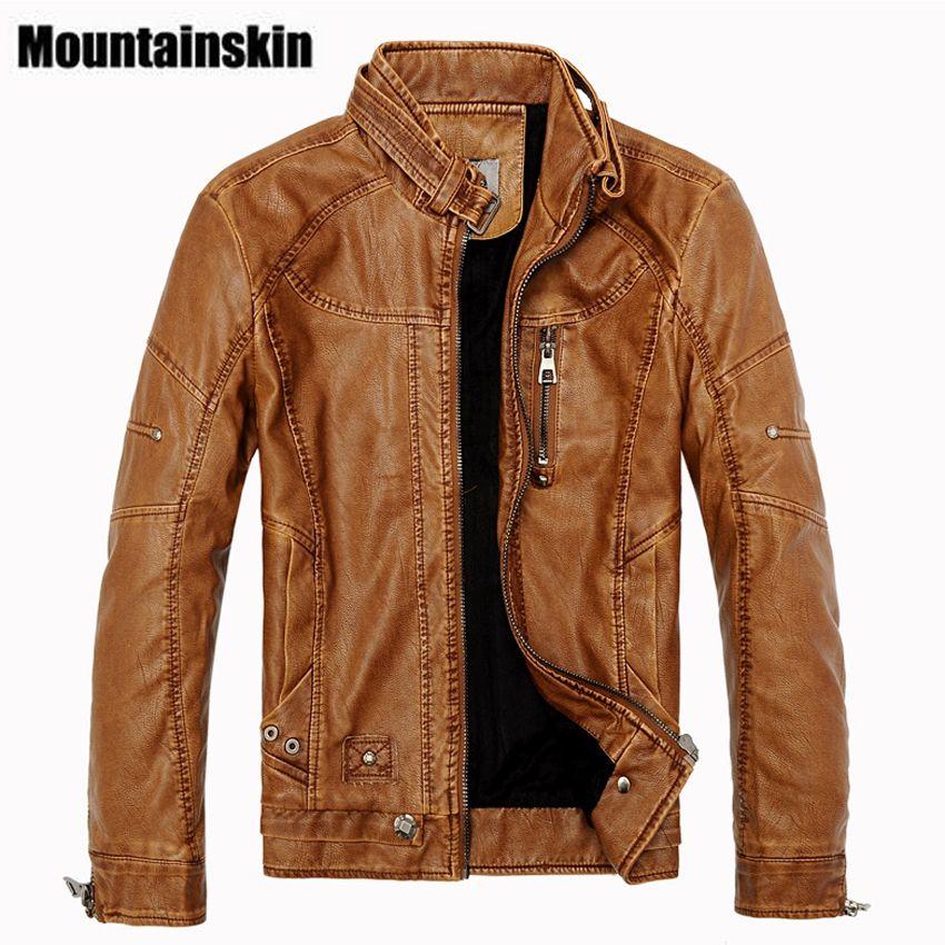 Mountainskin 2017 Winter Men's Leather Jackets Casual Men Vintage Motorcycle PU Faux Jacket Male Moto Coats Brand Clothing SA086