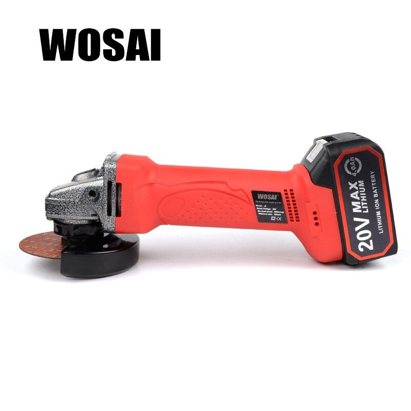 WOSAI 20V Lithium Battery Cordless Angle Grinder Grinding Machine Polishing Cutting Grinding Sanding Wax Power Tools