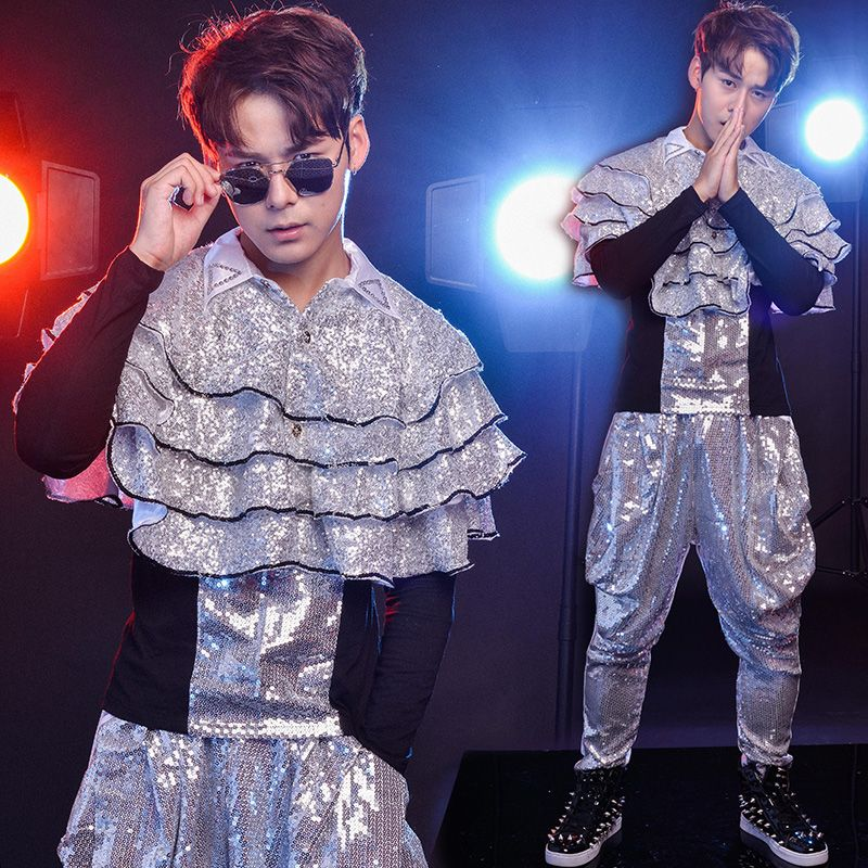 Nightclub Bar Male singers Drums Jazz Dance Modern Dance Costumes Personality Sequins Cloak Rain God Harlan Pants