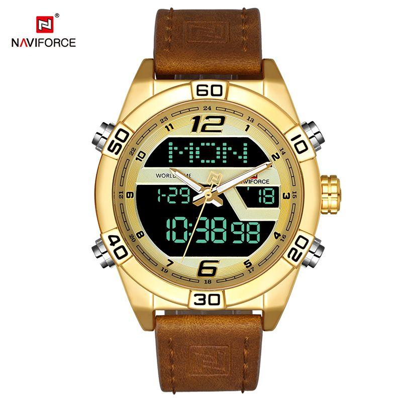 NAVIFORCE Luxury Men WatchBrand Analog Digital Leather Sports Watches Men's Military Watch Man Quartz Clock Relogio Masculino