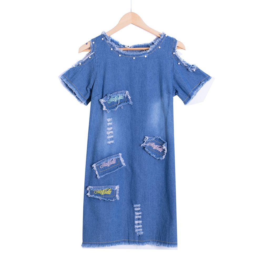 Sexy robe en Denim perlé femmes Vintage une ligne broderie Patchwork robe d'été plage fête robes courtes bleu Vestidos D74902J