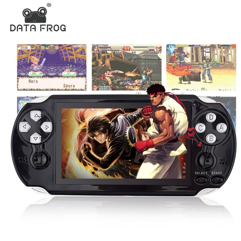 Data Frog 4.3 Inch HD Game Console 32 Bit Portable Handheld Game Players Multimedia Consoles MP5 For GBA/SMD/CP1/NEOGEO Format