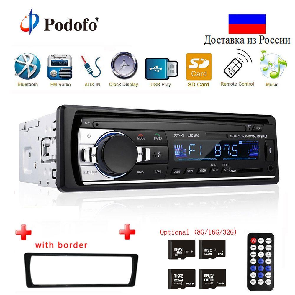Podofo Autoradio JSD-520 12 V In-dash 1 Din Bluetooth Autoradio SD lecteur MP3 Auto Audio stéréo récepteur FM entrée Aux