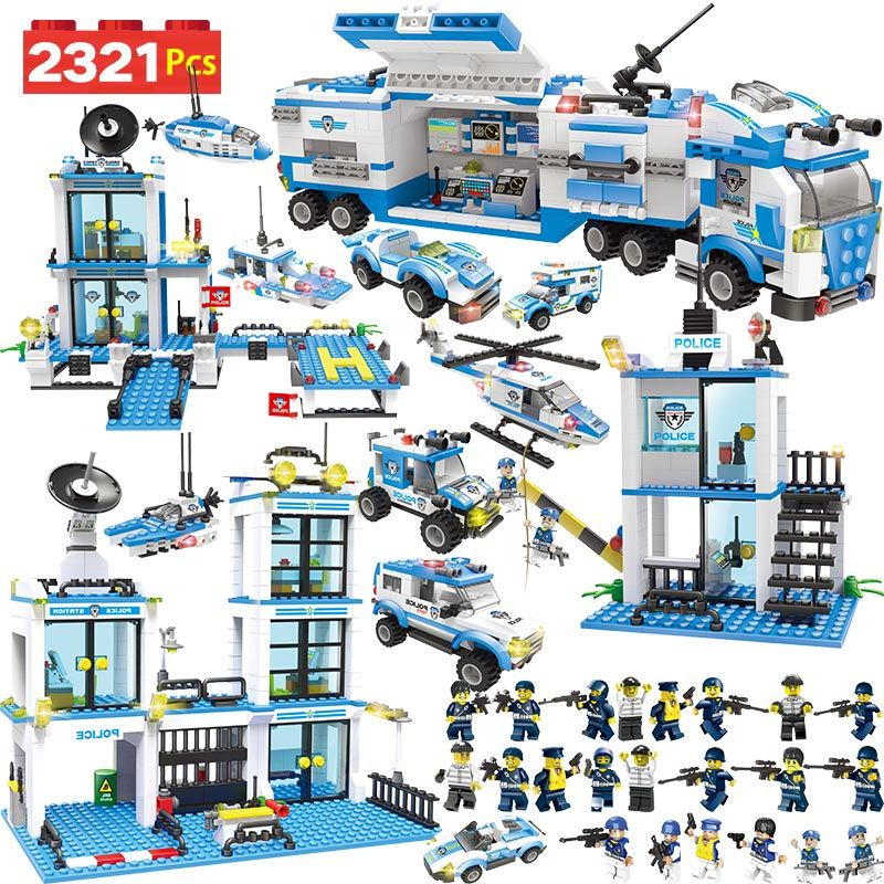 Anti-Terrorism Action Model <font><b>Building</b></font> Blocks City Police Station Office Truck Series Set Compatible LegoINGLYS Children Toys