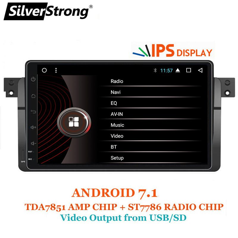 SilverStrong Android 7.1 Car DVD GPS Radio tape recorder stereo For BMW E46 318 320 3 Series dvd player receiver navigation